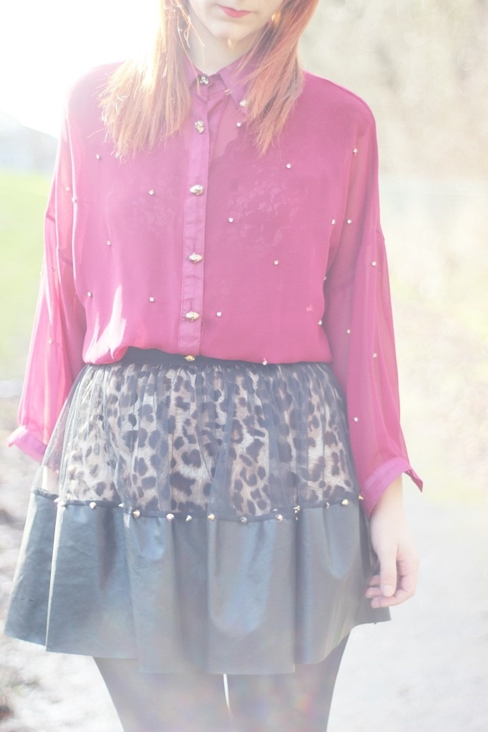 Outfit Leopard Leather   Mesh Skirt (03)