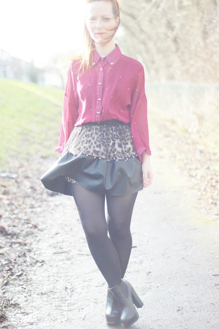 Outfit Leopard Leather   Mesh Skirt (05)