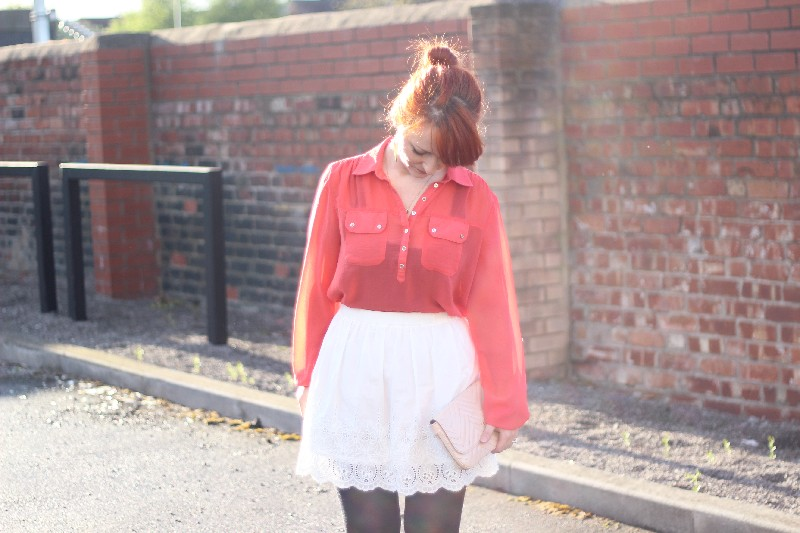 Outfit White Skirt & Coral Sheer Blouse (2)